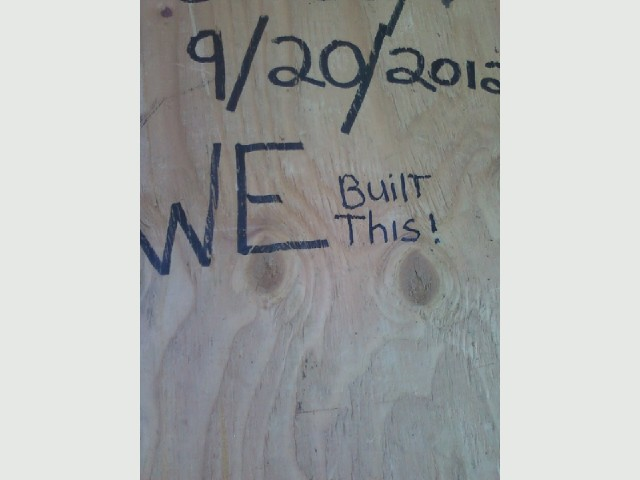 Barn roof, back section, hidden message we built this.jpg
