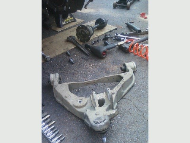 Expedition front end work, lower ball joint, lower control arm removed.jpg
